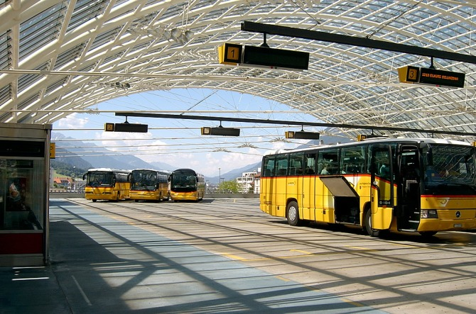 Post Bus interchange above Chur station 29.06.2008